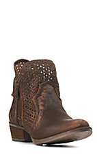 Circle G by Corral Women's Brown Distress Cutout Round Toe Bootie