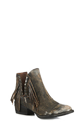 Circle G by Corral Women's Distressed Black Fringe Booties