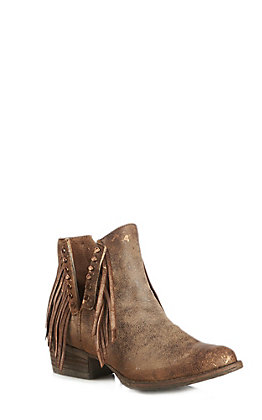 Circle G by Corral Women's Distressed Brown Fringe Booties