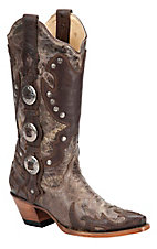 Corral Ladies Distressed Brown w/ Conchos & Studs Wing Tip Snip Toe Western Boot