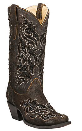 Corral Women's Roughed Brown with Black Sequin Inlay Snip Toe Western Boots