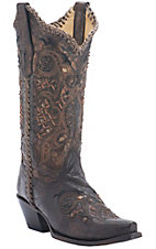 Corral Boot Company Women's Black/Bronze with Studs & Whip Stitch Snip Toe Western Boots