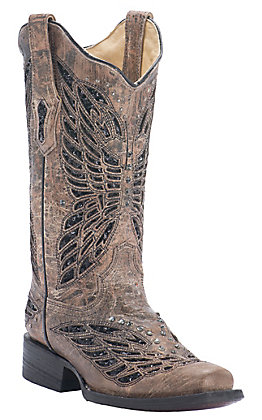 Corral Women's Bronze Crater with Black Sequin Butterfly Inlay Square Toe Western Boot