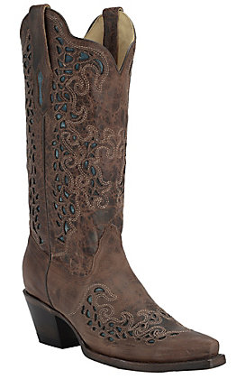 Corral Women's Burnished Brown with Blue Mad Dog Goat Inlay Snip Toe Western Boots