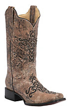 Corral Women's Marbled Bronze w/ Black Embroidered Cross Double Welt Square Toe Western Boots