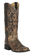 Corral Women's Marbled Bronze w/ Black Embroidered Cross with Studs Double Welt Square Toe Western Boots