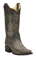 Corral Women's Distressed Grey with Cream Embroidery and Black Studs Western Square Toe Boots