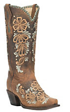 Corral Boot Company Women's Dark Brown with Orange and Tan Embroidered Floral Print Western Snip Toe Boots