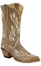 Corral Ladies Tan Brown Cortez w/ Fleur de Lis Embroidered Snip Toe Western Boots