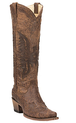 Corral Women's Distressed Brown with Brown Eagle Overlay Tall Top Snip Toe Western Boots