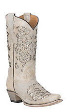Corral Youth Bone Glitter Inlay with Embroidery Snip Toe Western Boot