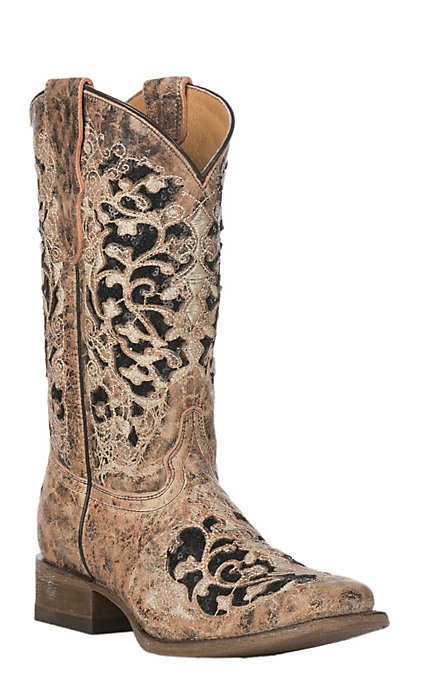 90fcbb77b8b Corral Youth Bronze with Glitter Inlay Snip Toe Western Boot