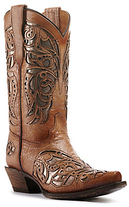 Corral Girl's Tan and Beige Inlay Snip Toe Western Boots
