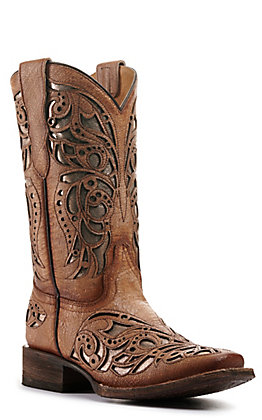 Corral Girl's Beige with Metallic Inlay Med Square Toe Western Boots