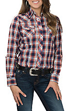 Cowgirl Legend Women's Pink and Blue Bobby Plaid Western Snap Shirt