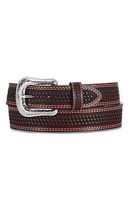 Cowboy Chrome Men's Brown Leather Basket Weave Belt