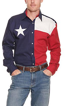 Larro Men's Texas Flag Long Sleeve Snap Western Shirt - Big & Tall