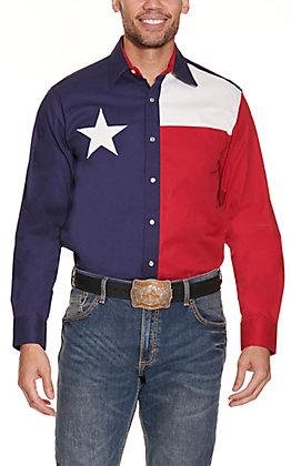 Larro Men's Texas Flag Long Sleeve Snap Western Shirt