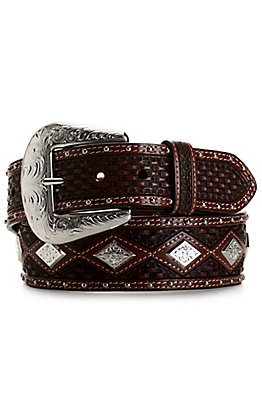 Cowboy Chrome Men's Brown Basket Weave with Diamond Concho Belt