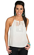 Vintage Havana Women's Ivory Eyelet Patch Top