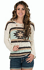 Vintage Havana Women's Ivory with Aztec Print Woven Sweater