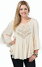 Vintage Havana Women's Ivory Dot Embroidered 3/4 Sleeve Peasant Top