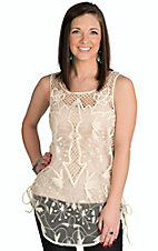 Vintage Havana Women's Ivory with Embroidery & Crochet Mesh Tank
