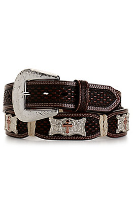 Cowboy Chrome Men's Brown Basketweave with Silver and Gold Cross Conchos Scalloped Belt