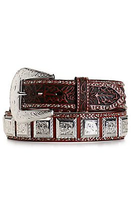 Cowboy Chrome Men's Brown Floral Tooled with Silver Square Conchos Belt