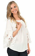 Vintage Havana Women's White Crochet Bell Sleeve Top