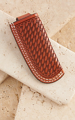 Cowboy Chrome Brown Leather Basket Weave Knife Sheath
