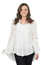 Vintage Havana Women's White with Crochet Insert Peasant Tunic Fashion Top