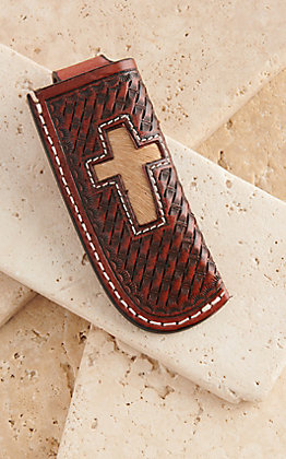Cowboy Chrome Brown Leather Basket Weave with Cross Inlay Knife Sheath