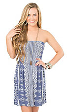 Ocean Drive Women's Blue with White Tribal Pattern and Bow on Back Strapless Dress