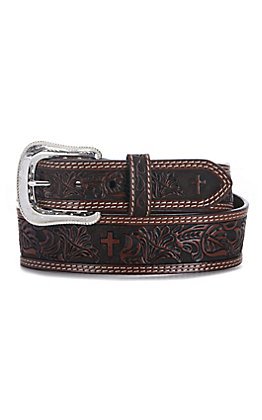 Cowboy Chrome Men's Brown Floral Tooled Cross Leather Western Belt