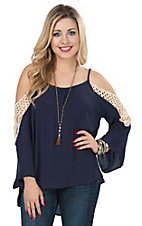 Vintage Havana Women's Navy with Crochet Trim Cold Shoulder Bell Sleeve Top