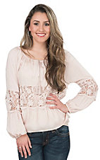 Vintage Havana Women's Pale Pink with Crochet Insert Long Sleeve Peasant Top