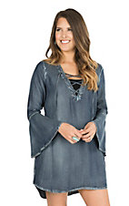Vintage Havana Women's Denim Lace Up Long Bell Sleeve Dress
