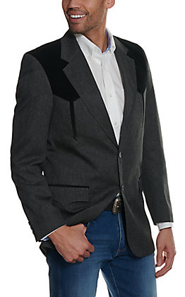 Circle S Men's Charcoal Grey And Black Sport Coat