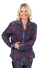 Vintage Havana Women's Navy and Burgundy Plaid Flannel Long Sleeve Fashion Shirt