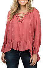 Vintage Havana Rust Lace Up Fashion Shirt