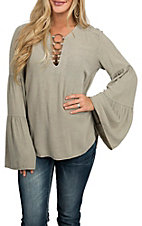 Vintage Havana Women's Washed Taupe Ring Neckline Fashion Shirt