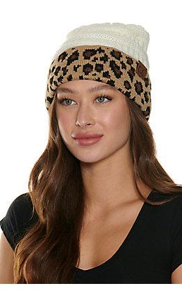 C.C. Ivory with Leopard Brim Knit Beanie