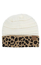 C.C. Beanies Ivory with Leopard Print Knit Beanie Hat