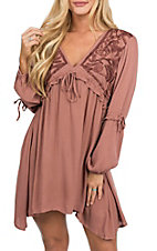 Vintage Havana Women's Cinnamon Embroidered Peasant Dress