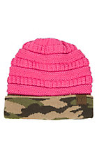 C.C. Beanies Pink with Camo Print Knit Beanie Hat