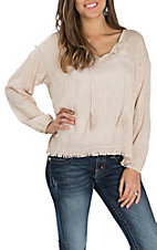 Surf Gypsy Women's Khaki All Over Floral Embroidery L/S Peasant Fashion Shirt