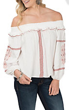Vintage Havana Women's White with Embroidery Off the Should Peasant Fashion Shirt