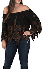 Vintage Havana Women's Black and Rust Off the Shoulder Top