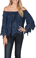 Vintage Havana Women's Blue Off the Shoulder Top